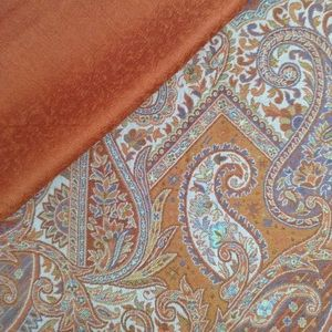 New Rust colour printed shawl- Silk-Colton-Wool